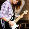 Stock Photo: Style brunette girl with guitar