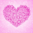 Background with floral heart shape — Foto de Stock