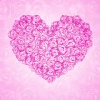 Background with floral heart shape — ストック写真
