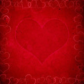 Red valentine's background with hearts — Stock Photo
