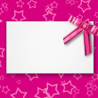 Blank postcard tied with a bow of pink ribbon — Foto Stock