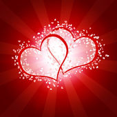 Two joint hearts against red backround with stripes — Stock Photo