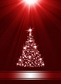 Christmas tree made of stars against red background — Stock Photo