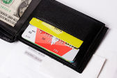 Plastic cards in purse — Stockfoto