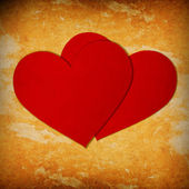 Two red paper hearts — Stock Photo