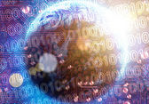 Binary code on high technology — Stock Photo