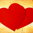 Stock Photo: Two red paper hearts
