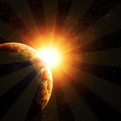 Planet against the sun — Stock Photo