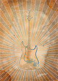 Vintage musical background with guitar — Stock Photo