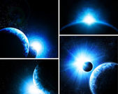 Collage of 4 pictures with planets — Stock Photo