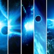 Collage of 5 pictures with planets - Stock Photo