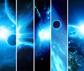 Collage of 5 pictures with planets — Stock Photo