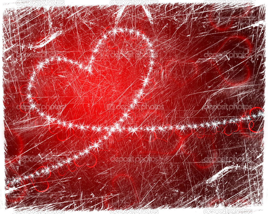 Grunge heart shape with stars — Stockfoto #8671752