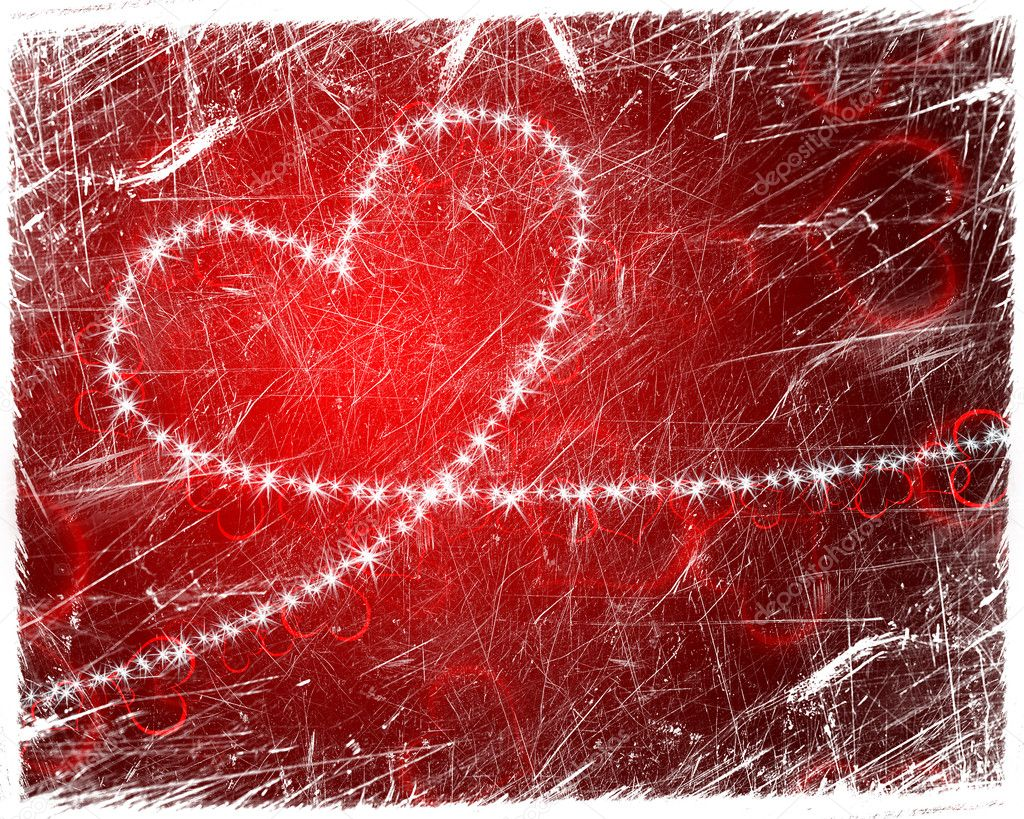Grunge heart shape with stars  Lizenzfreies Foto #8671752