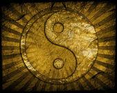 Grunge yin yang symbol — Stock Photo