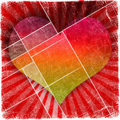 Valentine's day background with hearts on grunge — Stock Photo