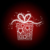 Kartki świąteczne z pudełko z gwiazd — Zdjęcie stockowe