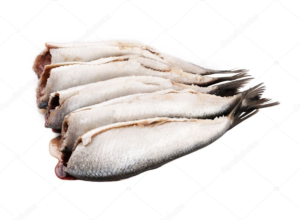 Fresh small scale fish without head on white background  Stock Photo #9108590