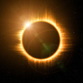 Solar eclipse in space — Stock Photo