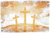 Silhouette of three crosses on a grunge background — Stock Photo