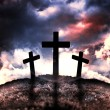 Silhouette of three crosses on a hill — Stock Photo #9578541