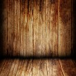 Wooden wall and floor in the room — Stock Photo