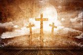 Three crosses in a retro room — Stock Photo