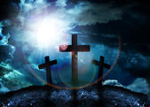 Silhouette of three crosses on a hill — Stock Photo