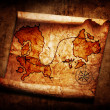 Old treasure map on grunge background — Stock Photo