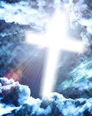 Glowing cross in sky — Stock Photo