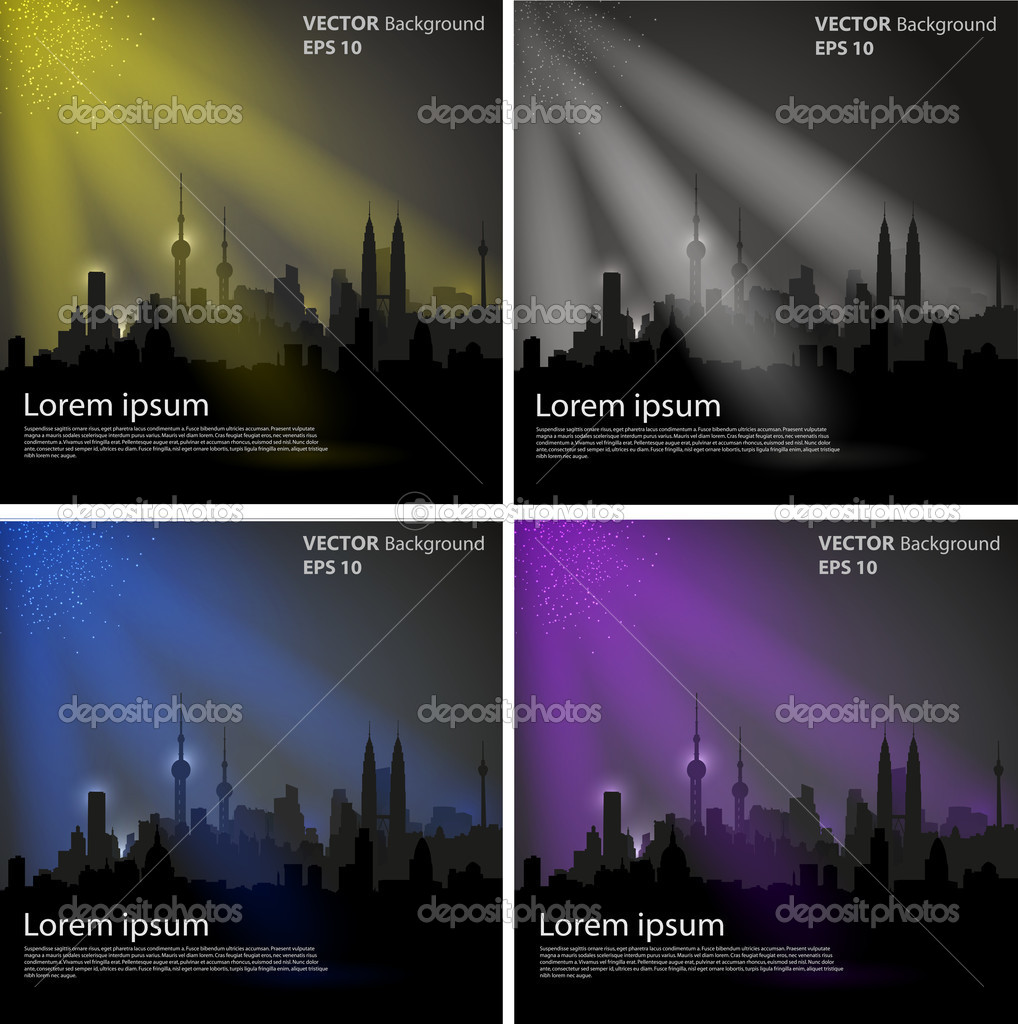 Vector Night city, color design, easy editable — Stock Vector #10271783