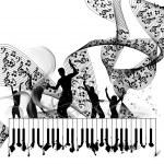 Grunge music piano background — Stock Vector