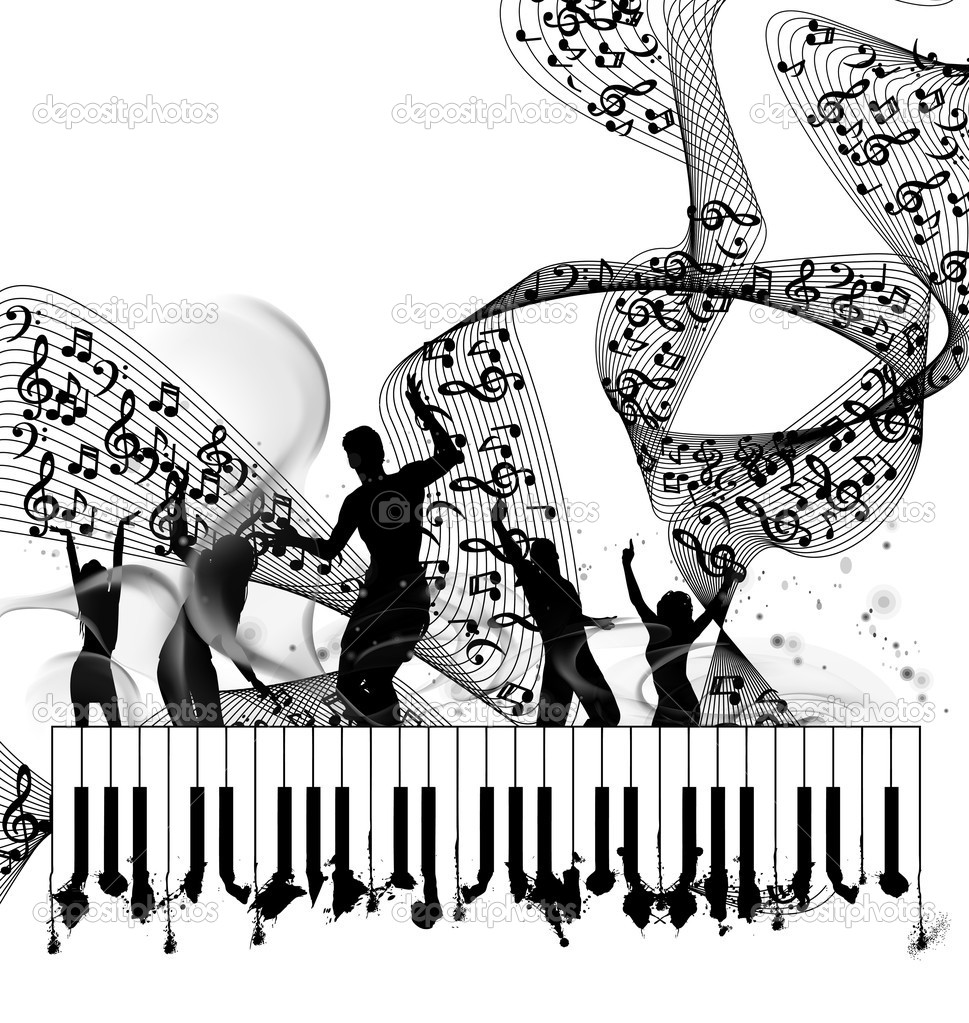 Grunge music piano background with note line — Stock Vector #8022867