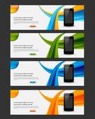 Website banner, flyer with smart phone — Stock Vector