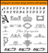 Calligraphic decoration design elements with alphabet — Stock Vector
