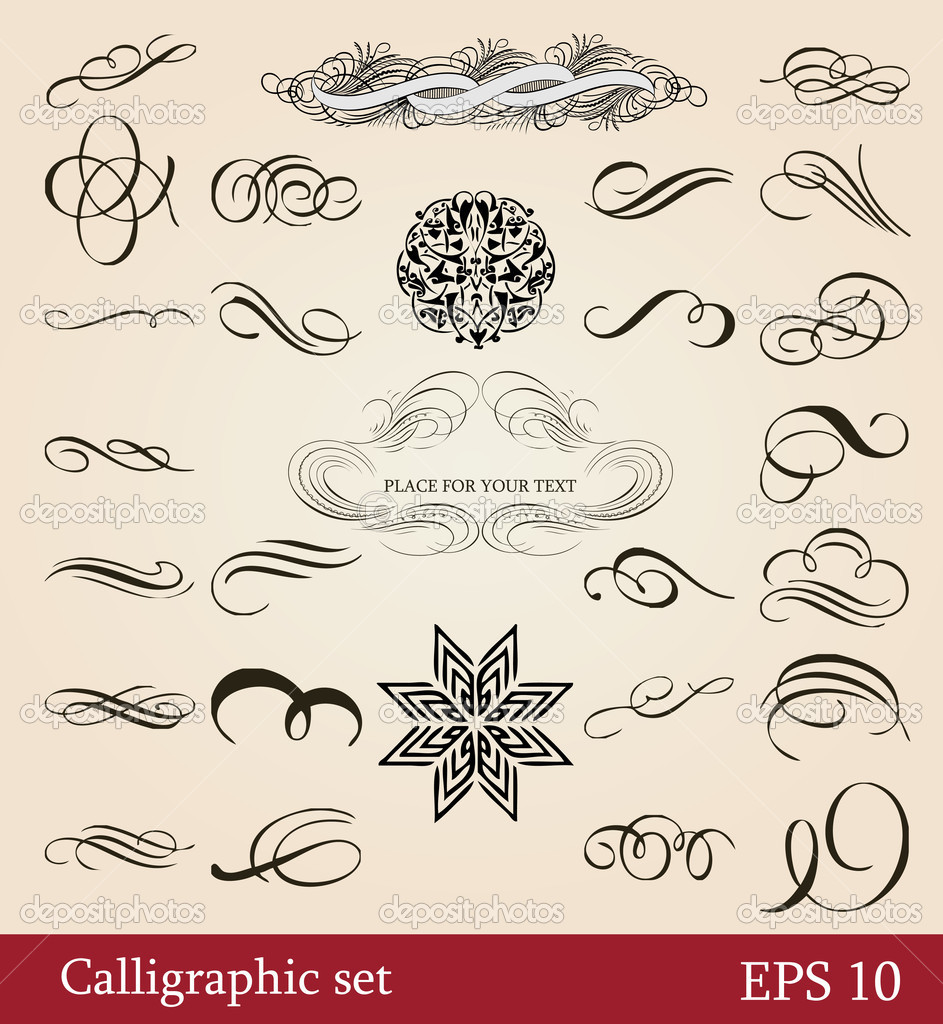 Vector Set Calligraphic Design Elements And Page