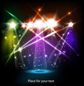 Banner neon light stage background for your text — Stock Vector