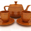 Stock Photo: Wood teapot and cups