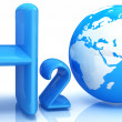 H2O. Formula of water - Foto Stock