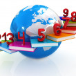 Global Education and numbers 1,2,3,4,5,6,7,8,9 — Stock Photo