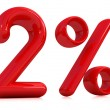 3d red two percent on a white background — Stock Photo