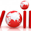 Stock Photo: Red word VoIP with 3D globe
