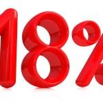 3D červené osmnáct procent na bílém pozadí — Stock fotografie #8839757