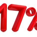 3D červené sedmnáct procent na bílém pozadí — Stock fotografie #8839762