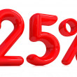 Stock Photo: 3d red twenty-five percent on white background