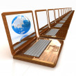 Stockfoto: Eco Wooden Laptops and Earth
