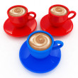 Stock Photo: Colorful real 3d cups of coffee with milk