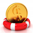 Coin dollar on  lifeline.The best 3d illustration - Stock Photo
