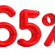 3d red 65 percent on a white background — Stock Photo