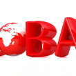 Royalty-Free Stock Photo: 3d text Global with globe.